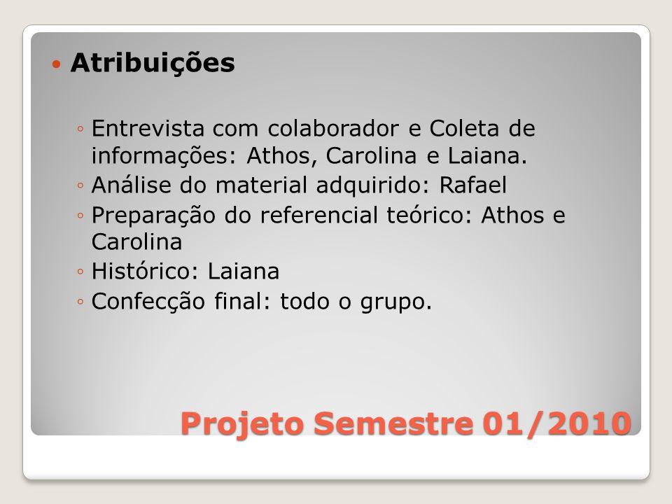 Projeto Semestre 01/2010 Atribuições