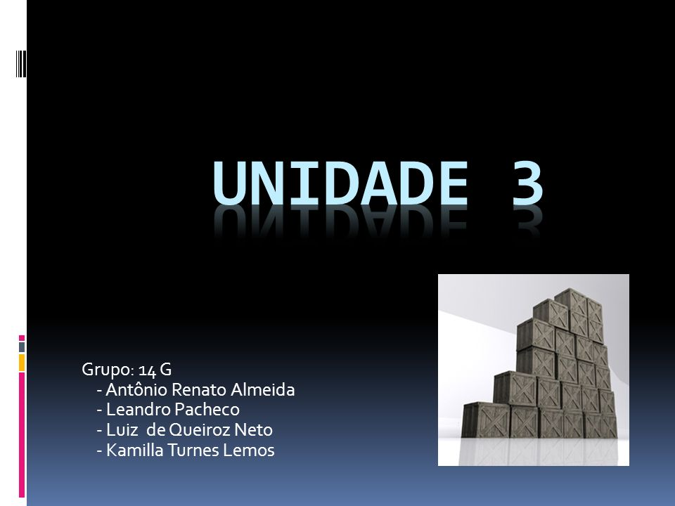 UNIDADE 3 Grupo: 14 G - Antônio Renato Almeida - Leandro Pacheco