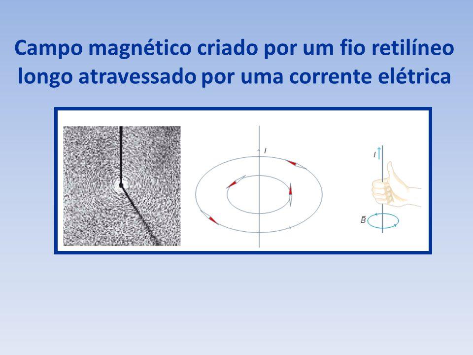 Campo magnético criado por um fio retilíneo longo atravessado por uma corrente elétrica