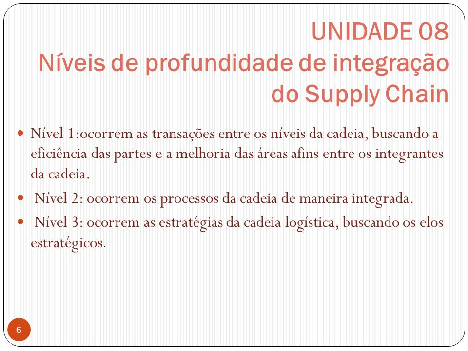 UNIDADE 08 Níveis de profundidade de integração do Supply Chain