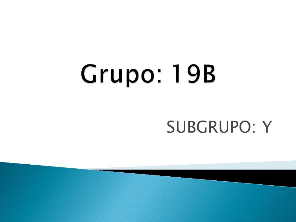 Grupo: 19B SUBGRUPO: Y