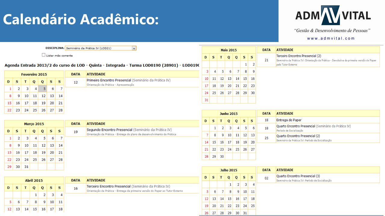 Calendário Acadêmico: