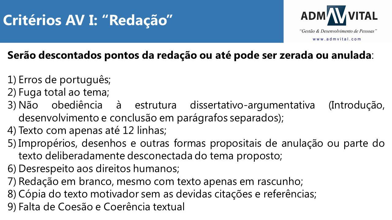 Critérios AV I: Redação