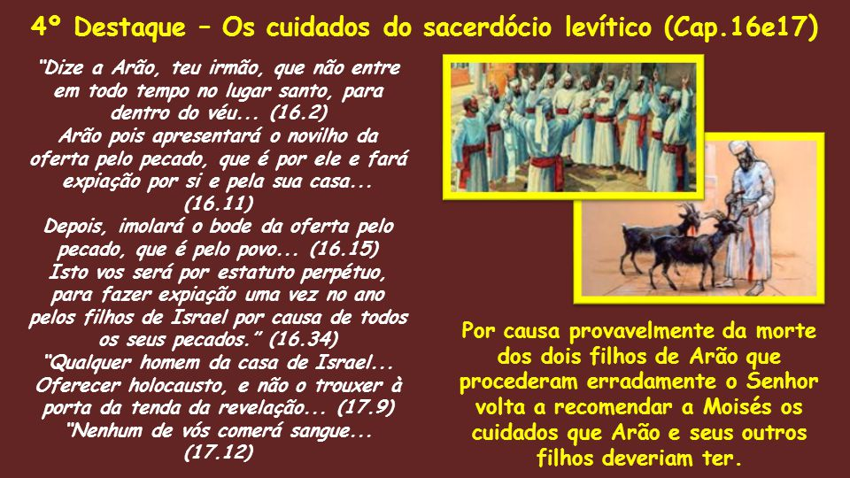 4º Destaque – Os cuidados do sacerdócio levítico (Cap.16e17)