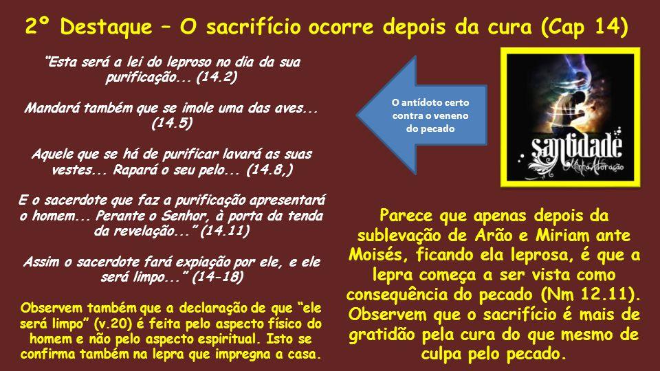 2º Destaque – O sacrifício ocorre depois da cura (Cap 14)