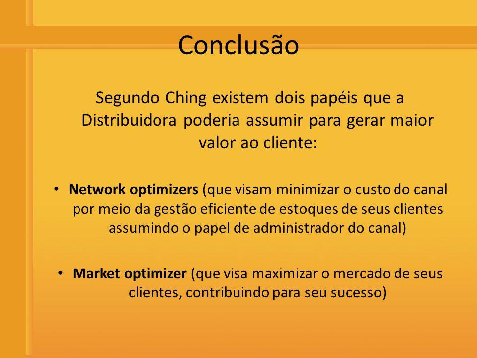 ConclusãoSegundo Ching existem dois papéis que a Distribuidora poderia assumir para gerar maior valor ao cliente: