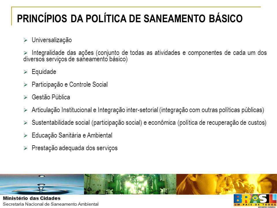 PRINCÍPIOS DA POLÍTICA DE SANEAMENTO BÁSICO