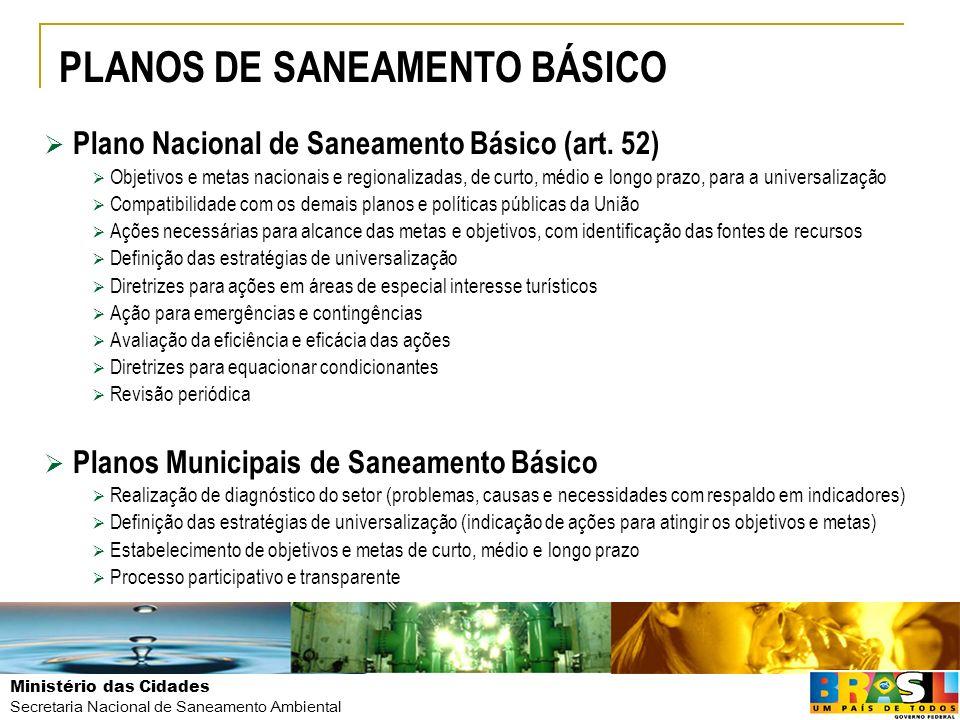 PLANOS DE SANEAMENTO BÁSICO