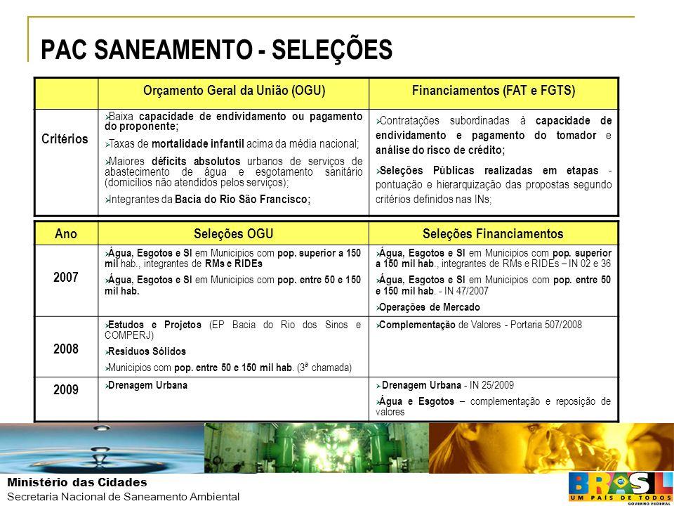 PAC SANEAMENTO - SELEÇÕES