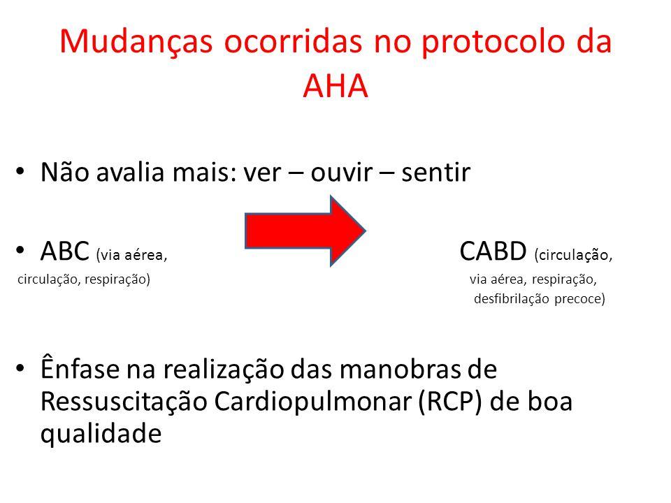 Mudanças ocorridas no protocolo da AHA