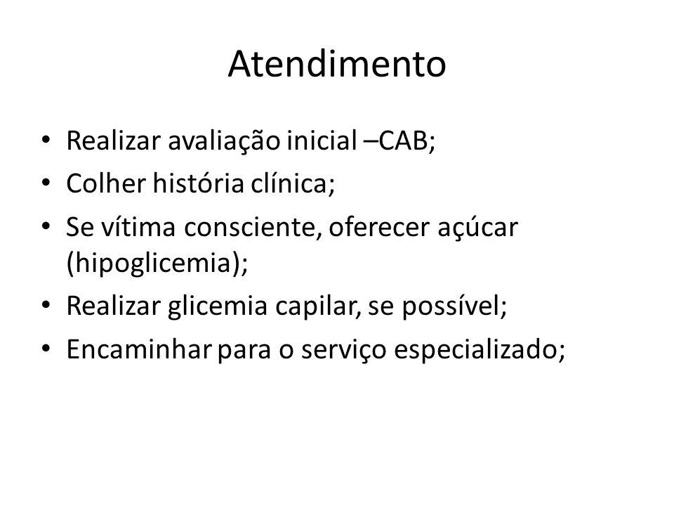 Atendimento Realizar avaliação inicial –CAB; Colher história clínica;