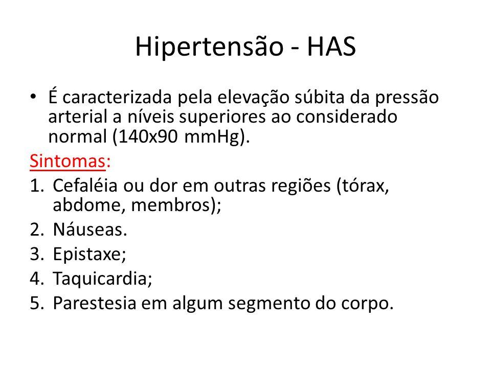 Hipertensão - HAS É caracterizada pela elevação súbita da pressão arterial a níveis superiores ao considerado normal (140x90 mmHg).