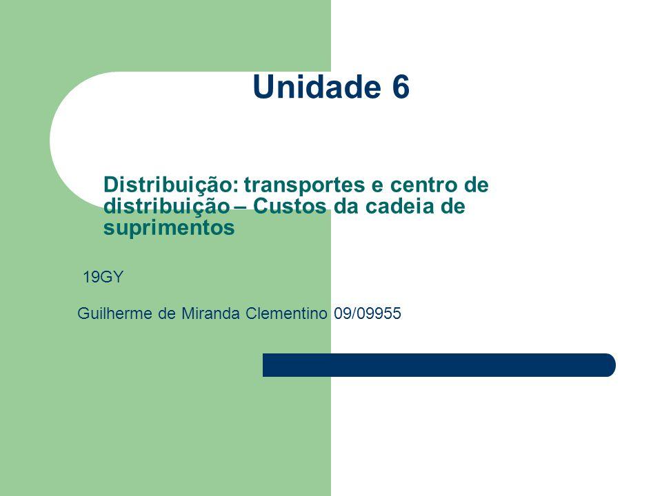 Unidade 6 Distribuição: transportes e centro de distribuição – Custos da cadeia de suprimentos. 19GY.