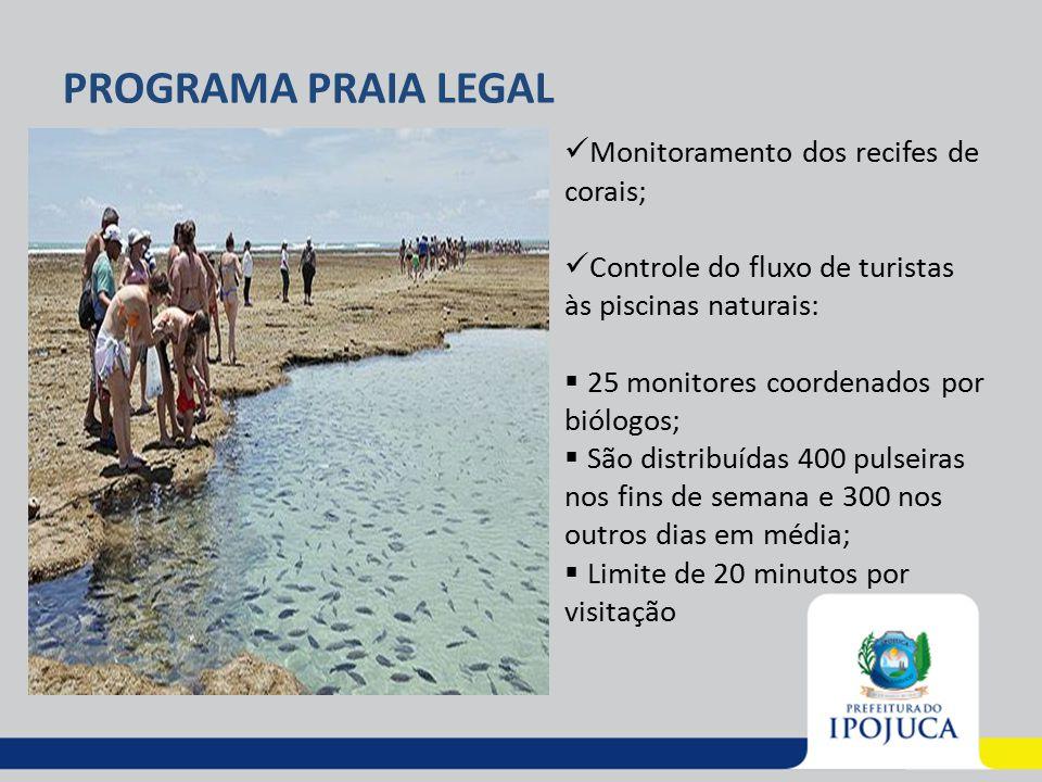 PROGRAMA PRAIA LEGAL Monitoramento dos recifes de corais;
