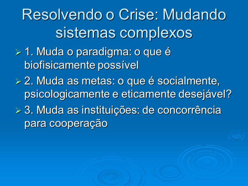 Resolvendo o Crise: Mudando sistemas complexos