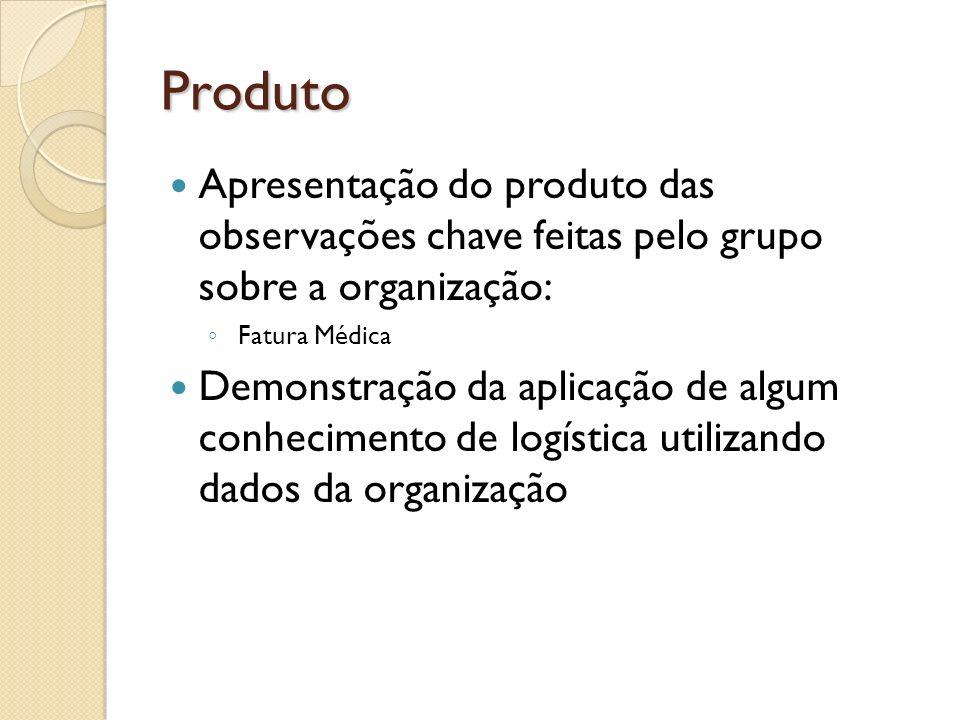 Produto Apresentação do produto das observações chave feitas pelo grupo sobre a organização: Fatura Médica.
