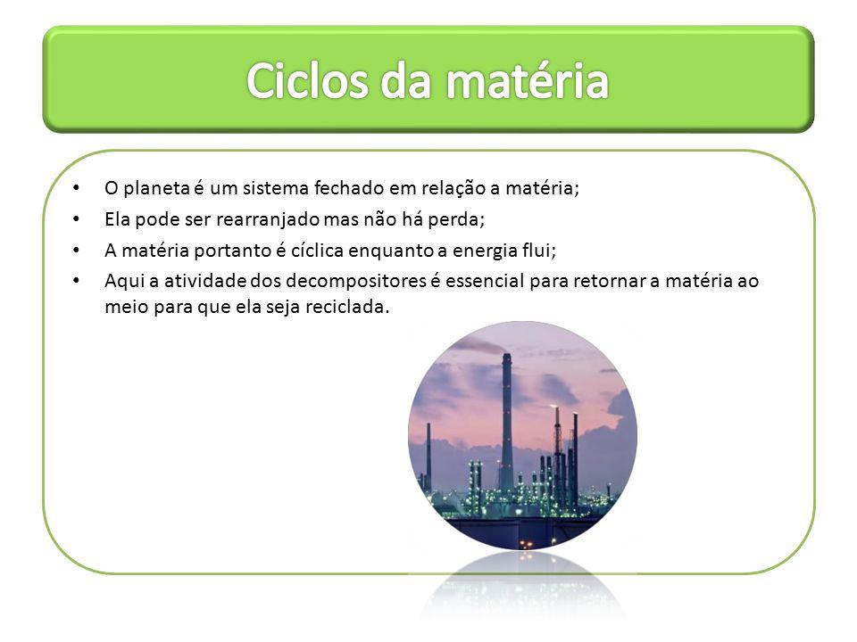 Ciclos da matéria O planeta é um sistema fechado em relação a matéria;