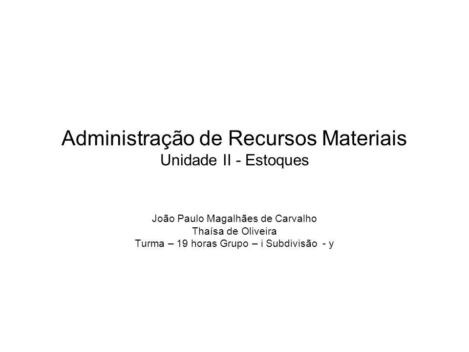 Administração de Recursos Materiais Unidade II - Estoques
