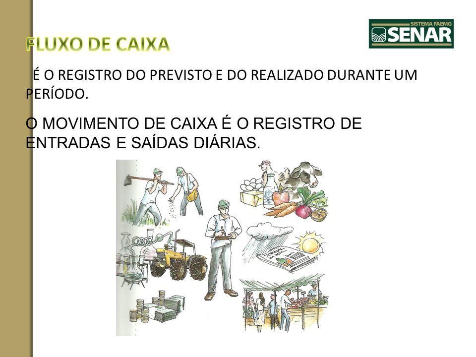 FLUXO DE CAIXA É O REGISTRO DO PREVISTO E DO REALIZADO DURANTE UM PERÍODO.