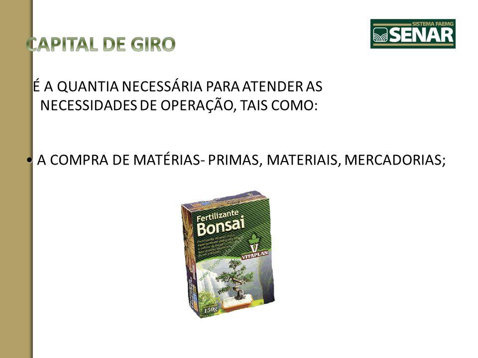 CAPITAL DE GIRO É A QUANTIA NECESSÁRIA PARA ATENDER AS