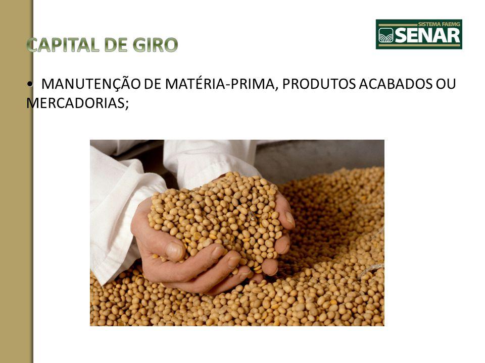 CAPITAL DE GIRO MANUTENÇÃO DE MATÉRIA-PRIMA, PRODUTOS ACABADOS OU MERCADORIAS;