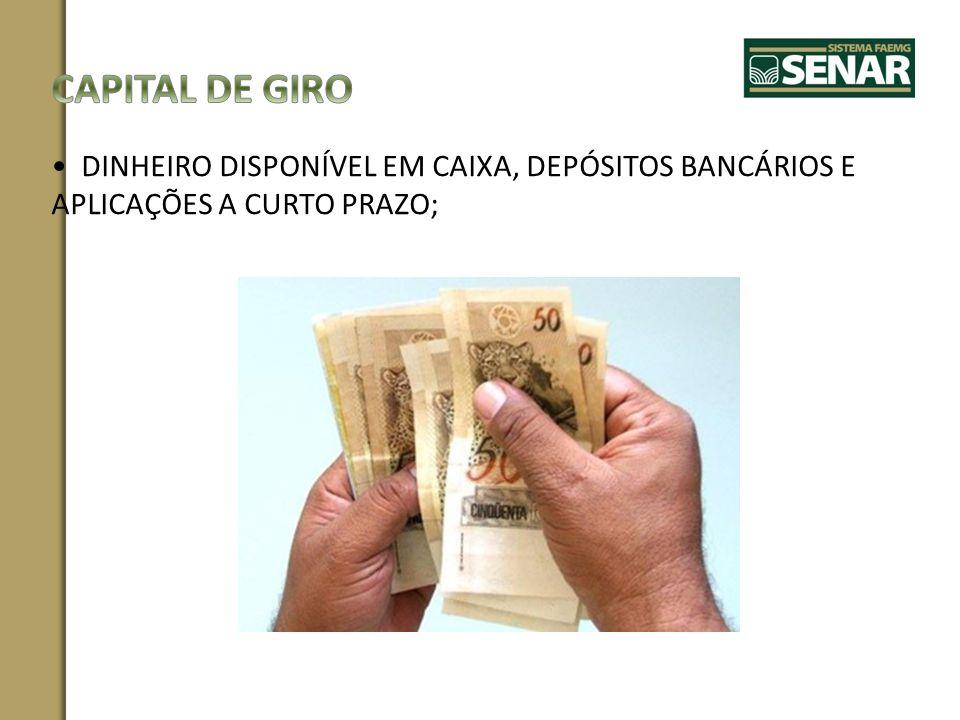 CAPITAL DE GIRO DINHEIRO DISPONÍVEL EM CAIXA, DEPÓSITOS BANCÁRIOS E APLICAÇÕES A CURTO PRAZO;
