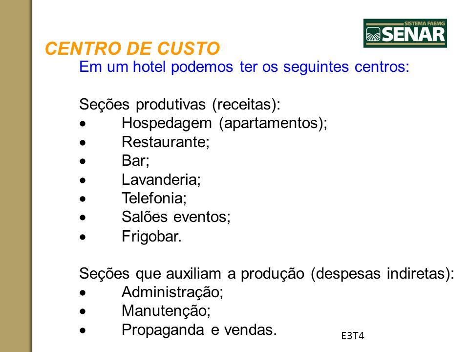 CENTRO DE CUSTO Em um hotel podemos ter os seguintes centros: