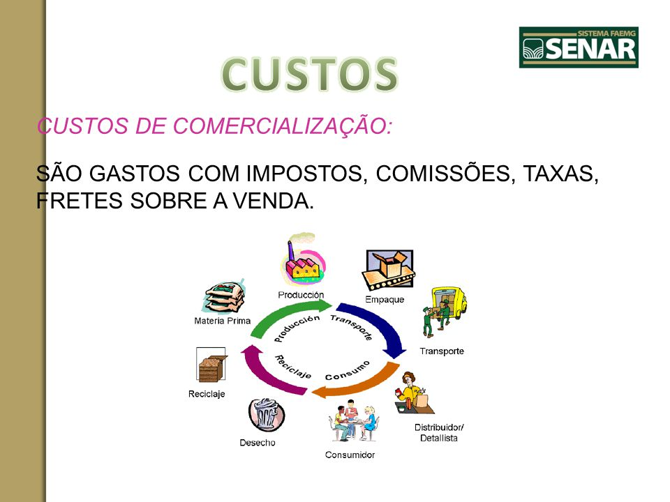 CUSTOS CUSTOS DE COMERCIALIZAÇÃO: