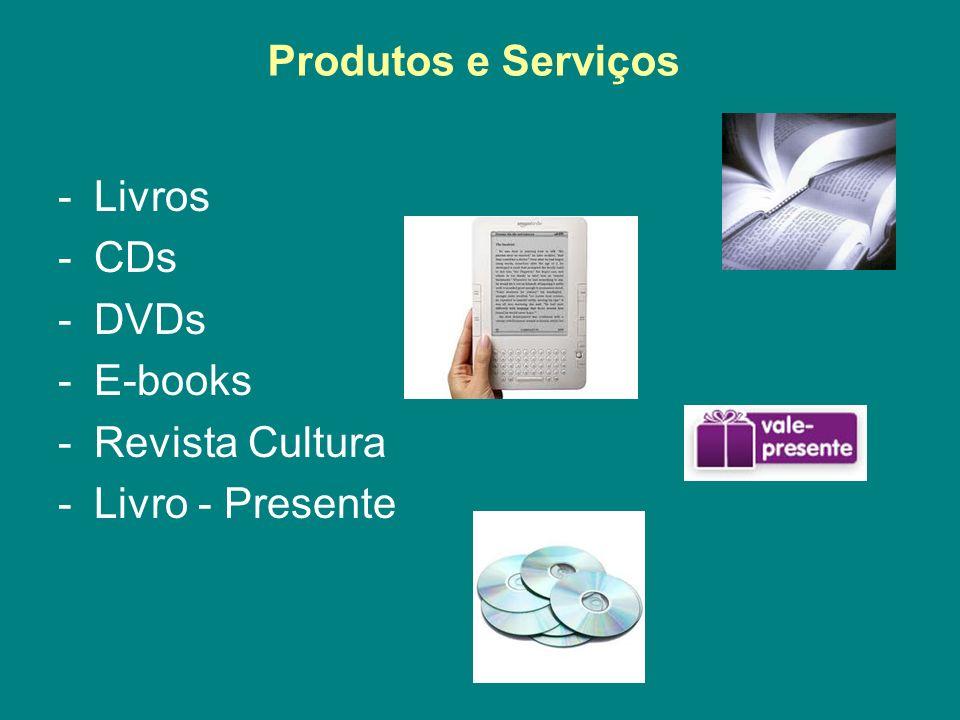 Produtos e Serviços Livros CDs DVDs E-books Revista Cultura Livro - Presente