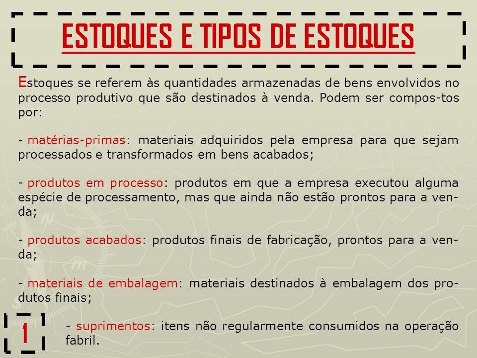 ESTOQUES E TIPOS DE ESTOQUES