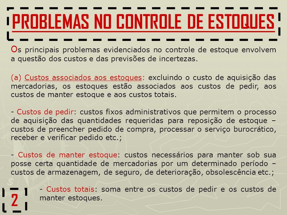 PROBLEMAS NO CONTROLE DE ESTOQUES