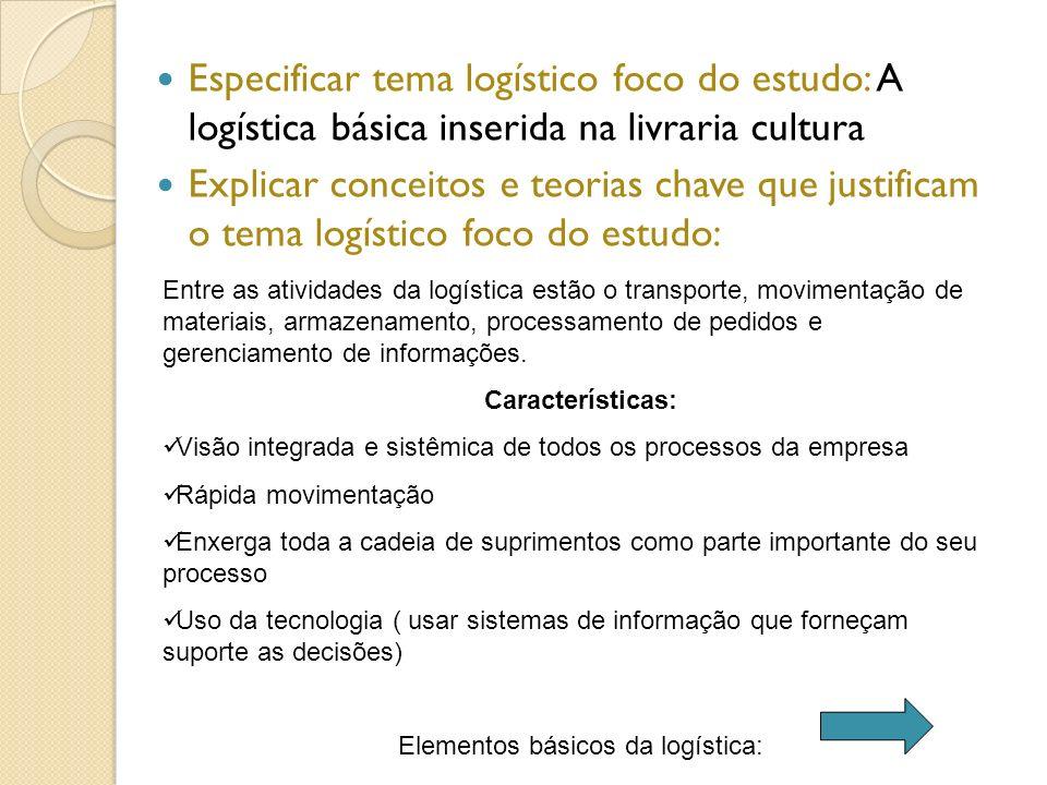 Elementos básicos da logística: