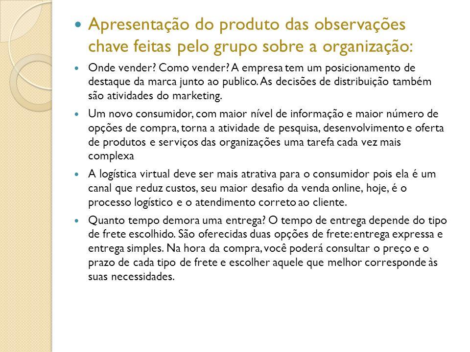 Apresentação do produto das observações chave feitas pelo grupo sobre a organização:
