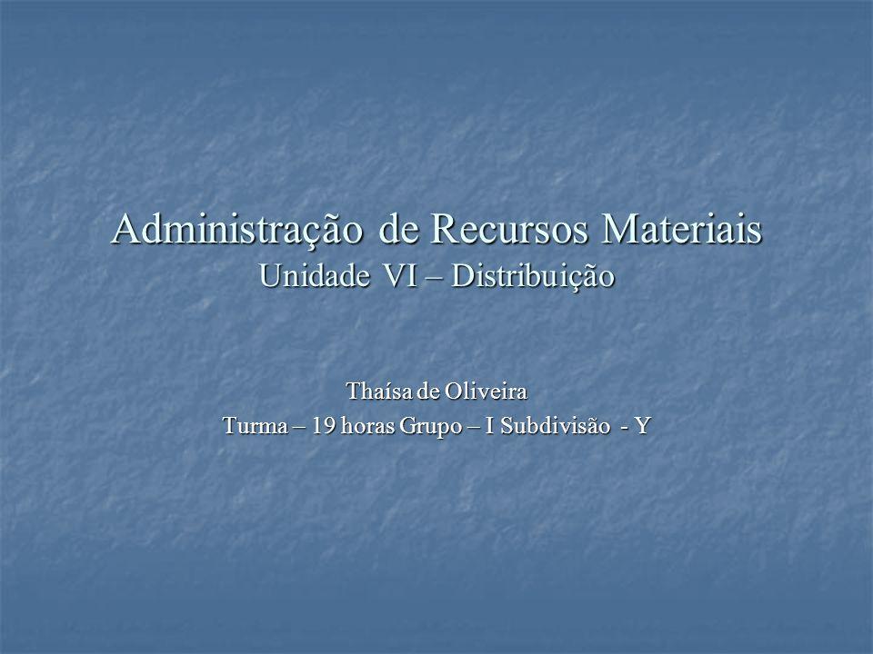 Administração de Recursos Materiais Unidade VI – Distribuição