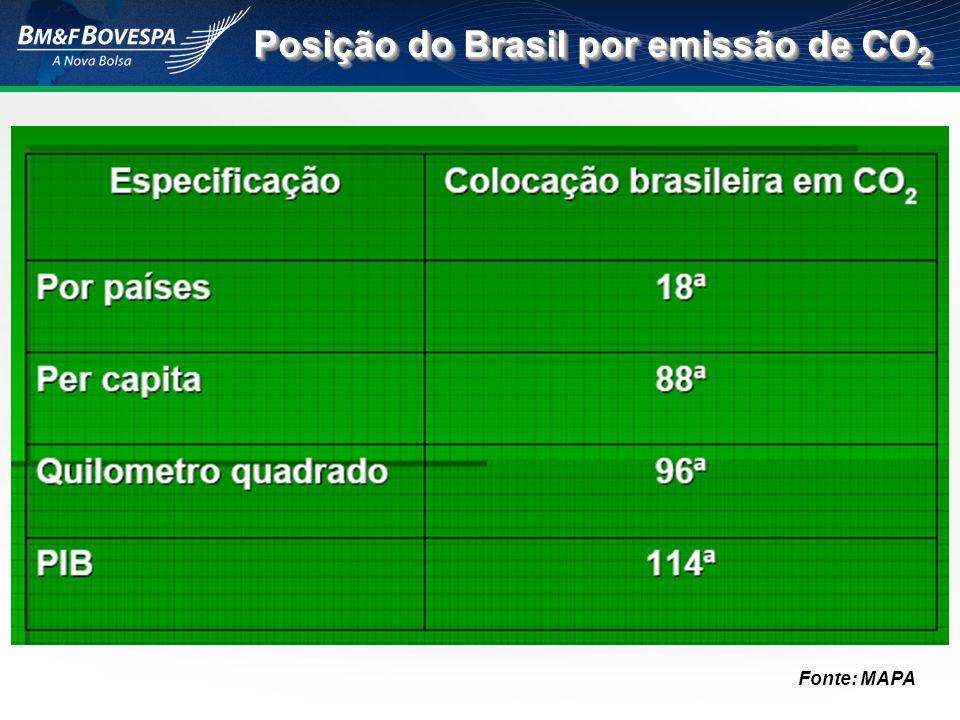 Posição do Brasil por emissão de CO2