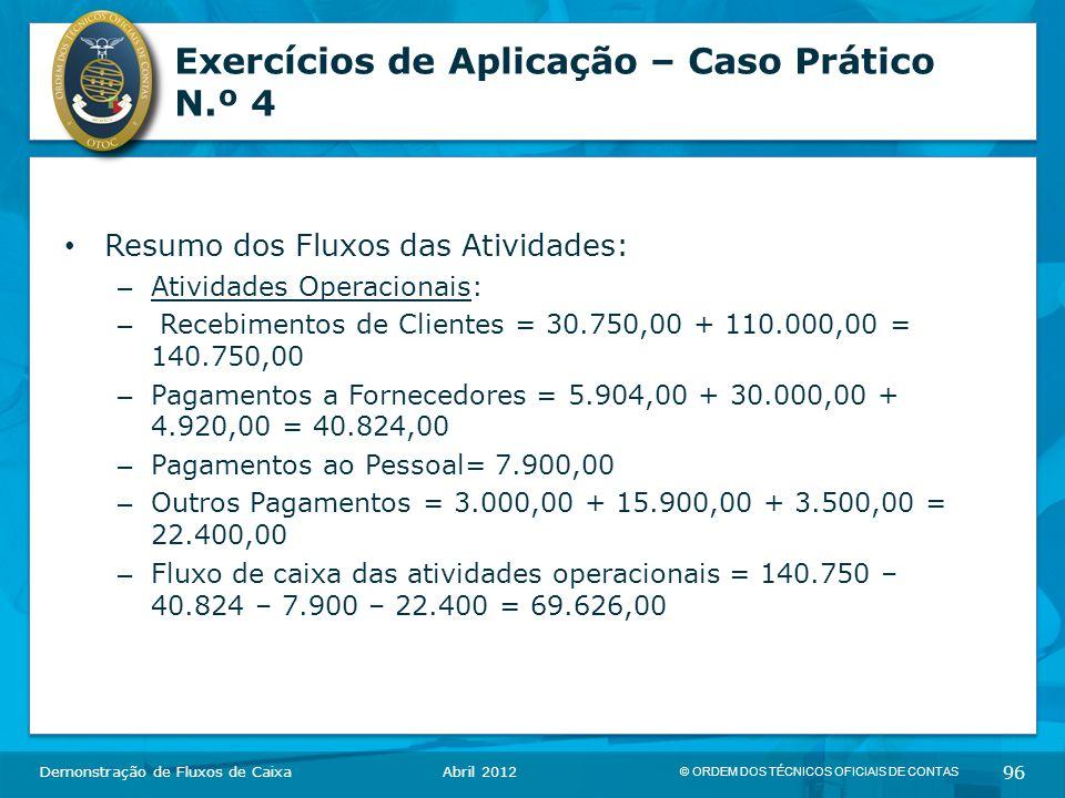 Exercícios de Aplicação – Caso Prático N.º 4