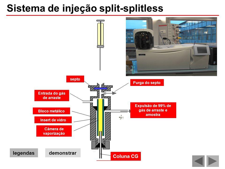 Entrada do gás de arraste Expulsão de 99% de gás de arraste e amostra