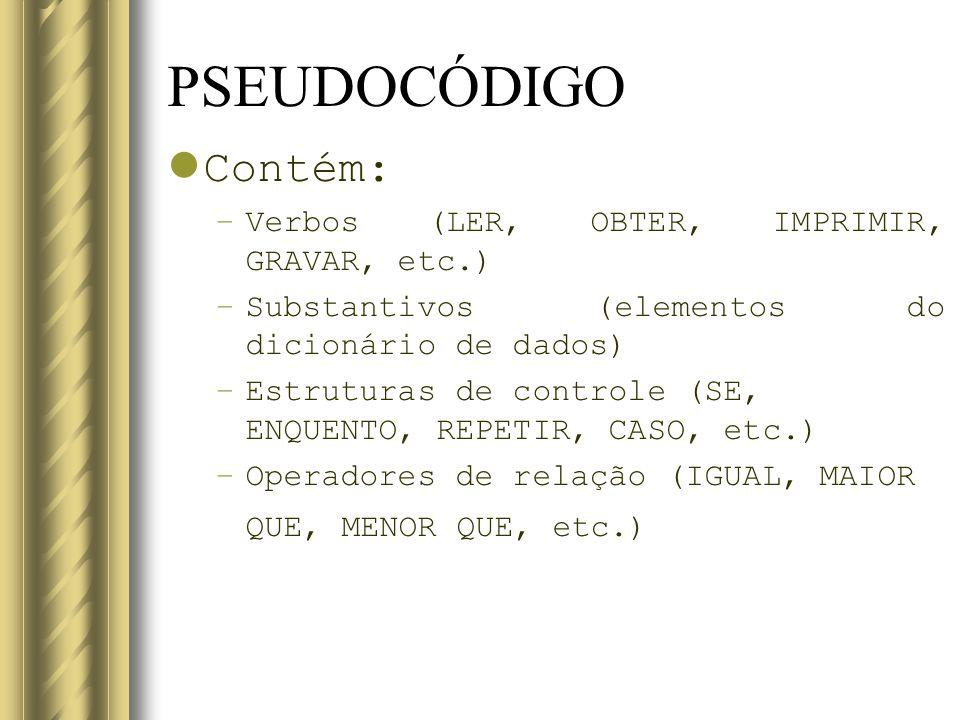 PSEUDOCÓDIGO Contém: Verbos (LER, OBTER, IMPRIMIR, GRAVAR, etc.)