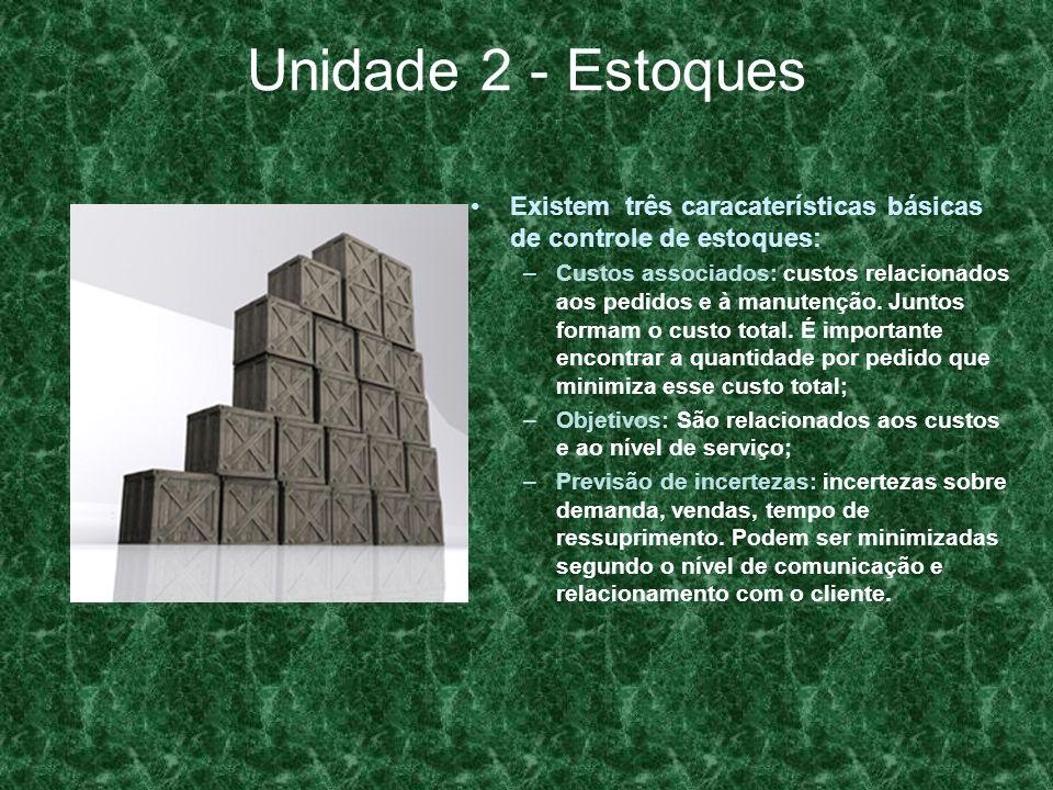 Unidade 2 - Estoques Existem três caracaterísticas básicas de controle de estoques: