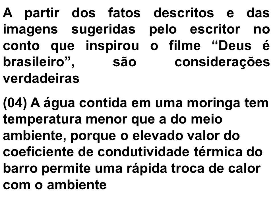 A partir dos fatos descritos e das imagens sugeridas pelo escritor no conto que inspirou o filme Deus é brasileiro , são considerações verdadeiras