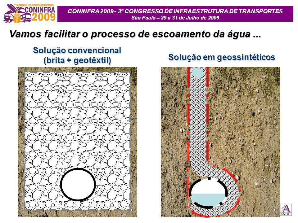 Vamos facilitar o processo de escoamento da água ...