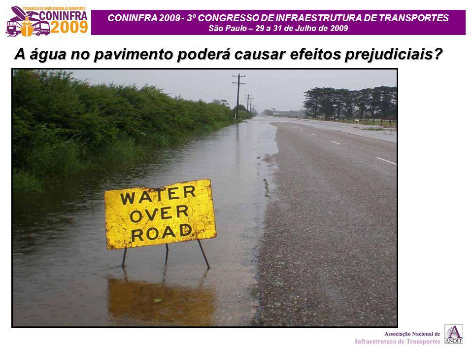 A água no pavimento poderá causar efeitos prejudiciais