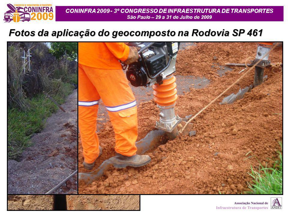 Fotos da aplicação do geocomposto na Rodovia SP 461
