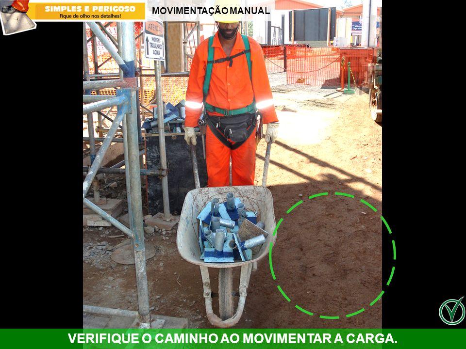 VERIFIQUE O CAMINHO AO MOVIMENTAR A CARGA.