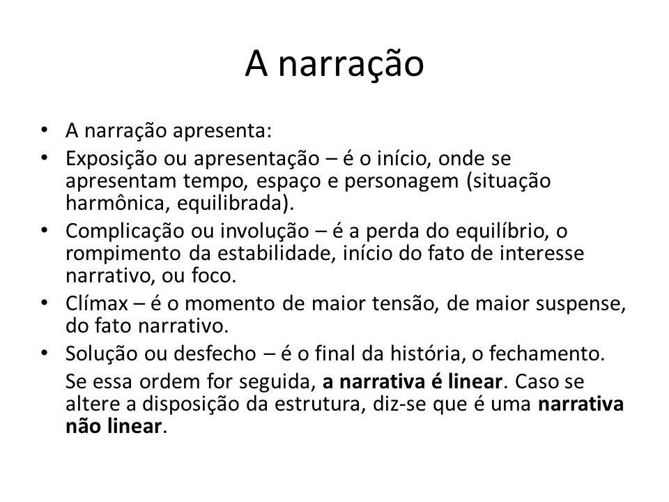 A narração A narração apresenta: