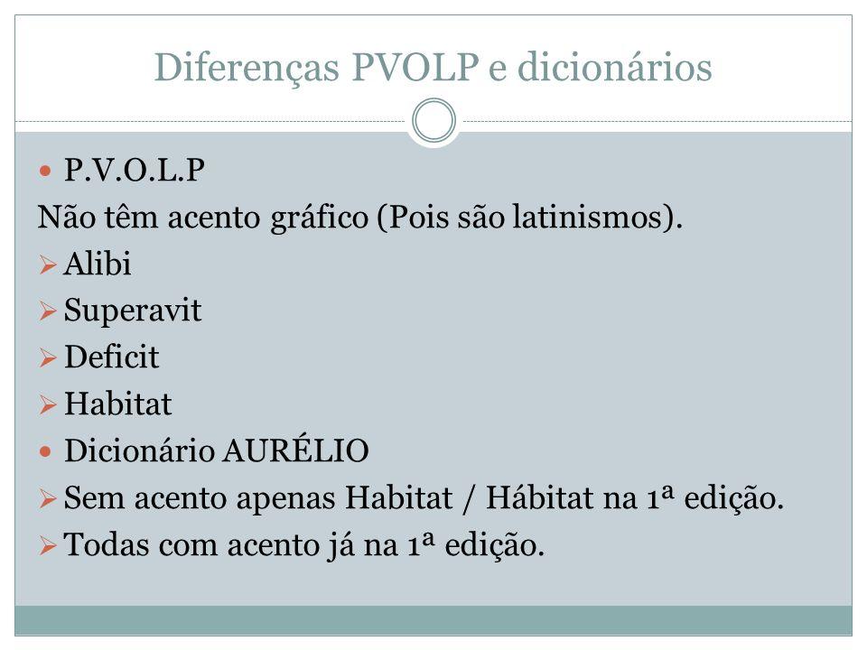 Diferenças PVOLP e dicionários