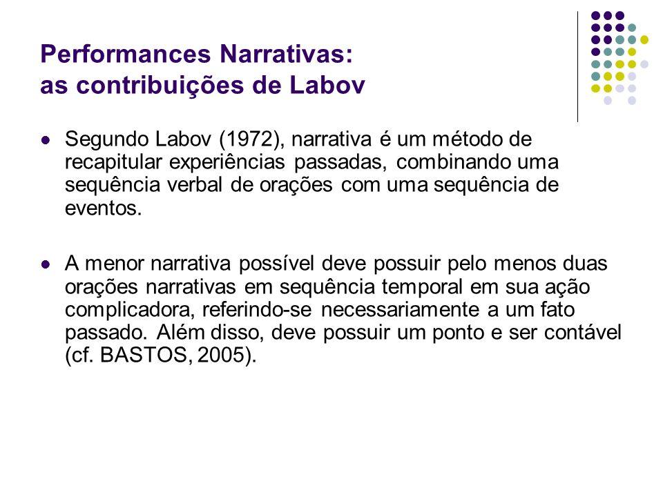Performances Narrativas: as contribuições de Labov