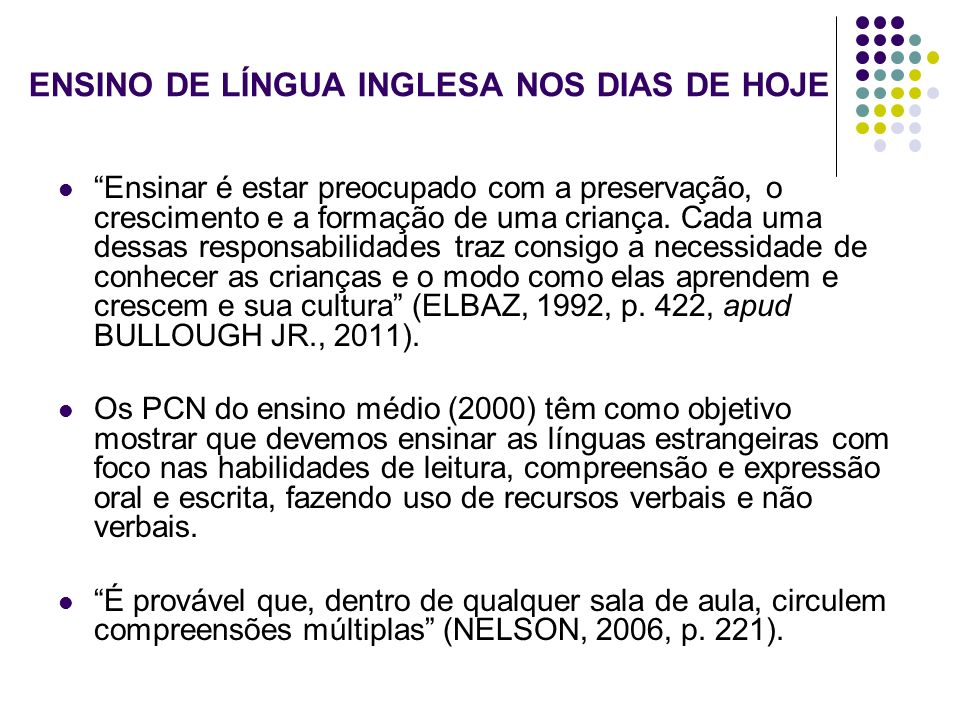 ENSINO DE LÍNGUA INGLESA NOS DIAS DE HOJE