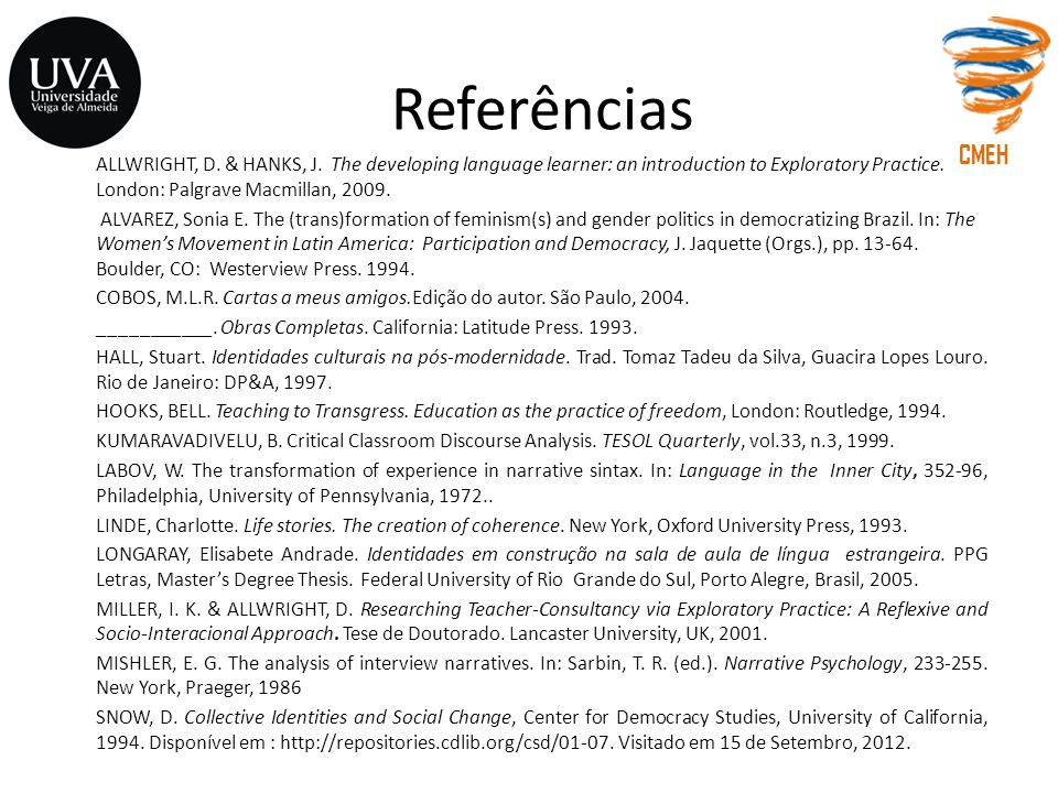Referências CMEH.