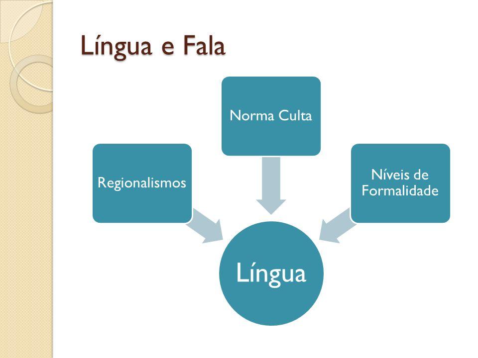 Língua e Fala Língua Regionalismos Norma Culta Níveis de Formalidade